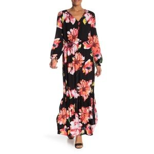 {ECI} Black Floral Printed Maxi Dress Size Large